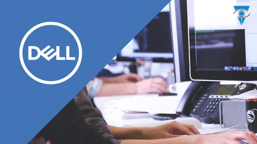 Logo de Dell más una imagen de personas trabajando en computadoras.