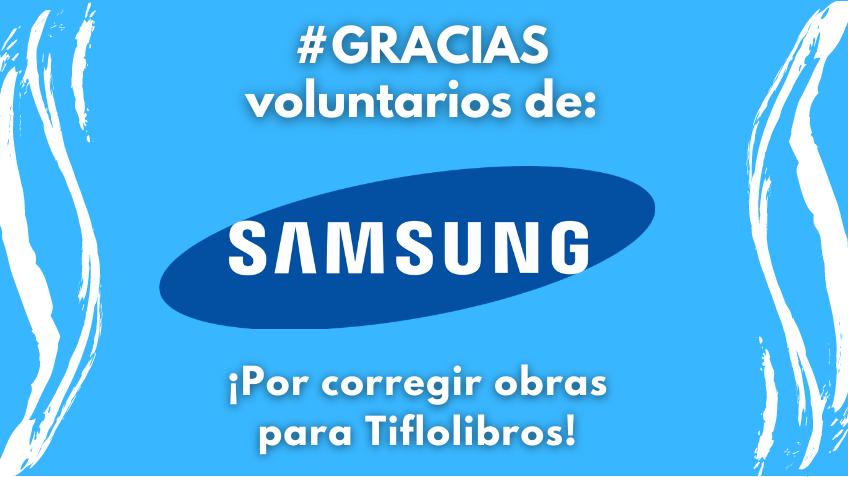 Logo de Samsung con el texto ¡Gracias voluntarios de Samsung!